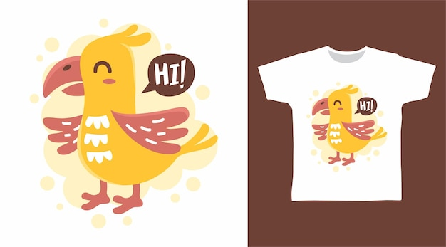 Niedliches gelbes huhn-t-shirt-design