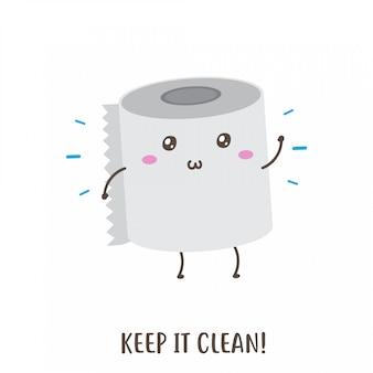 Niedliches glückliches toilettenpapier halten sauberes vektordesign