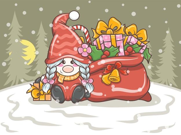 Niedliches gnome mädchen, das eine geschenkbox auf weihnachtsillustration hält