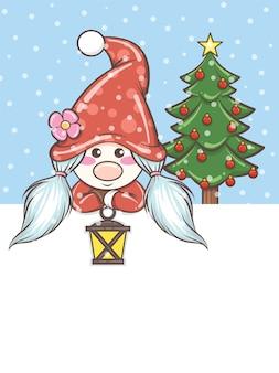 Niedliches gnome mädchen, das eine solarlaterne auf weihnachtsillustration hält