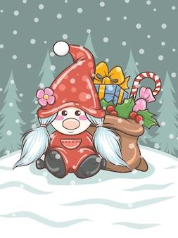 Niedliches gnome mädchen mit geschenksack auf weihnachtsillustration