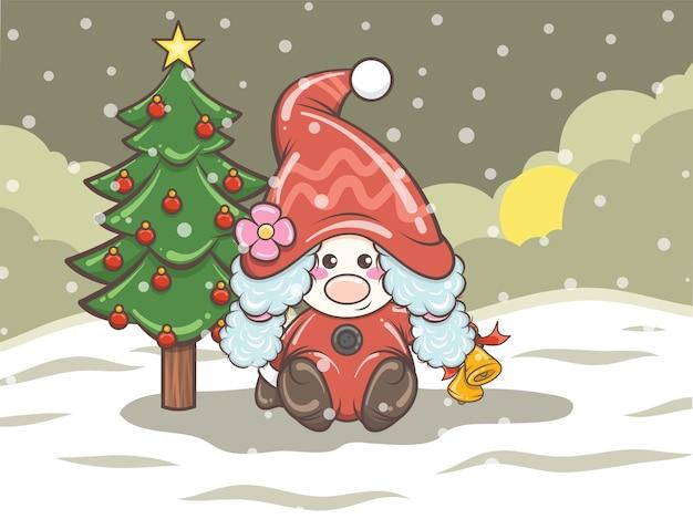 Niedliches gnomisches mädchen, das glöckchen auf weihnachtsillustration hält