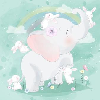 Niedliches häschen, das mit elefanten spielt