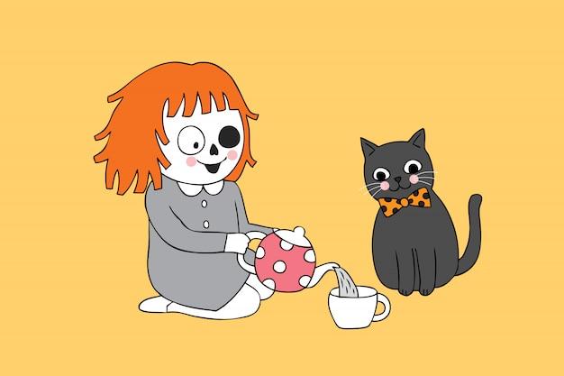 Niedliches halloween-geistmädchen der karikatur und teezeit der schwarzen katze