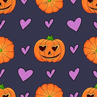 Niedliches halloween-kürbismuster mit herzen. halloween-thema-design-vektor-illustration