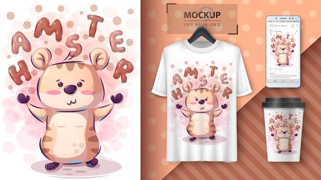 Niedliches hamsterplakat und merchandising