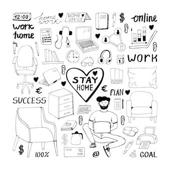 Niedliches, handgezeichnetes doodle-set über coronavirus, covid-19, stay home, arbeit zu hause. pandemie-schutz. quarantäne positive doodle-symbole, home-elemente. isoliert auf weißem hintergrund.