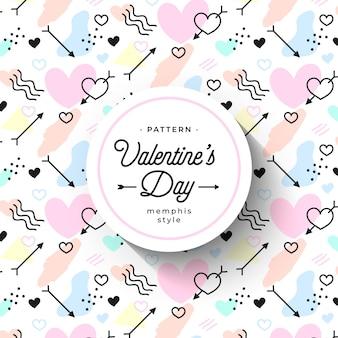 Niedliches handgezeichnetes valentinstagmuster im memphis-stil