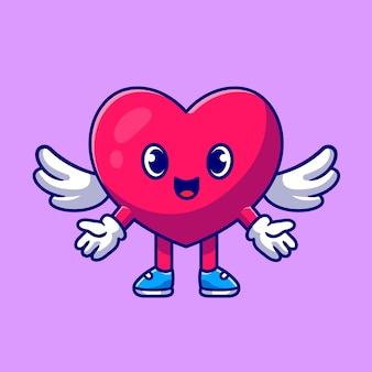 Niedliches herz engel liebe cartoon icon illustration.