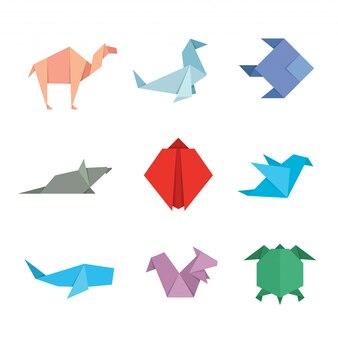 Niedliches japanisches origami-papier-kunst-tier-illustrations-set