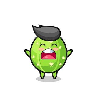 Niedliches kaktus-maskottchen mit einem gähnen-ausdruck, süßes stildesign für t-shirt, aufkleber, logo-element