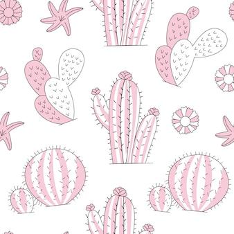 Niedliches kaktuspflanzenmuster