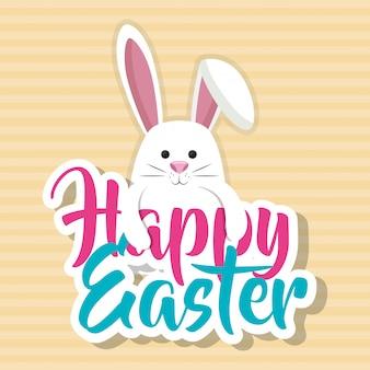 Niedliches kaninchen glückliche osterfeier-grußkarte
