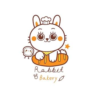 Niedliches kaninchen-logo für bäckerei-banding-cartoon-hand zeichnen