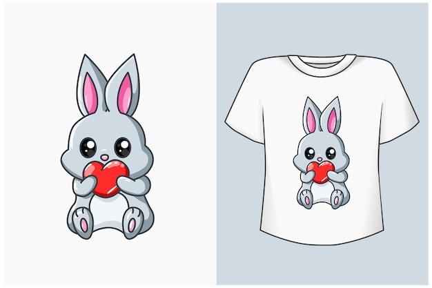 Niedliches kaninchen mit liebeskarikaturillustration