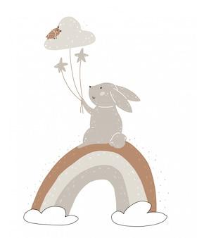 Niedliches kaninchen, regenbogen, sterne und wolkenballone.