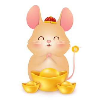 Niedliches karikatur little rat charakter design mit traditionellem chinesischen roten hut und chinesischem goldbarren lokalisiert auf weißem hintergrund. das jahr der ratte. tierkreis der ratte