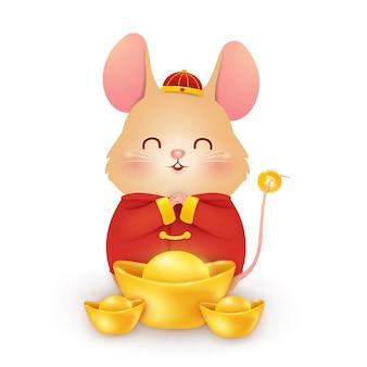 Niedliches karikatur little rat charakterdesign mit traditionellem chinesischen roten kostüm und chinesischem goldbarren lokalisiert auf weißem hintergrund. das jahr der ratte. tierkreis der ratte.