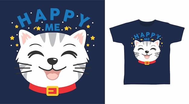 Niedliches katzen-t-shirt-design mit glücklicher katze