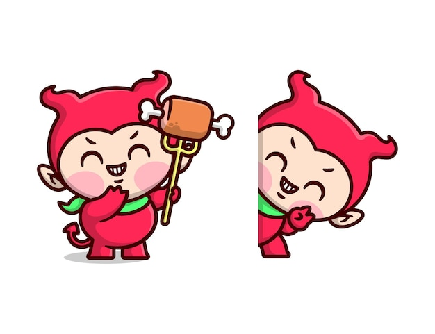 Niedliches kind im roten teufel-kostüm und hält einen dreizack mit fleisch-cartoon-maskottchen-design-set