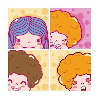 Niedliches kinder emojis karikaturvektorillustrations-grafikdesign