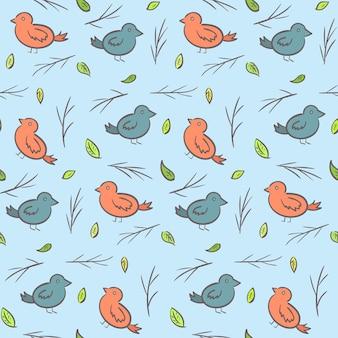 Niedliches kindisches muster mit bunten cartoon-vögeln, ästen und blättern