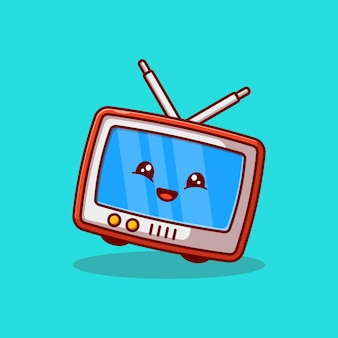 Niedliches klassisches tv-charakter-maskottchen-vektor-illustrationsdesign