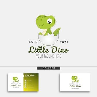 Niedliches kleines dino-logo-design-konzept mit kleinem dino, der aus einer ei-vektorillustration geschlüpft ist