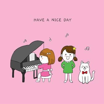 Niedliches kleines mädchen der karikatur und glückliches lied der katze.