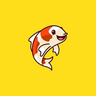 Niedliches koi fisch-logo