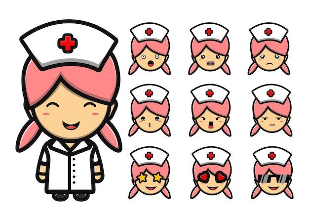 Niedliches krankenschwester-maskottchen-cartoon-set