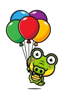 Niedliches krokodil, das mit einem liebesballon fliegt