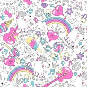 Niedliches lamamuster auf weißem hintergrund. buntes trendiges nahtloses muster. modeillustrationszeichnung im modernen stil für kleidung. zeichnen für kinderkleidung, t-shirts, stoffe oder verpackungen.