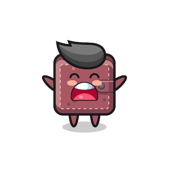 Niedliches leder-maskottchen mit gähnen-ausdruck, süßes design für t-shirt, aufkleber, logo-element