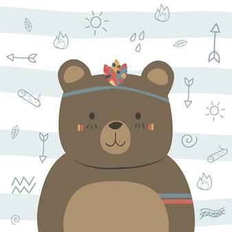 Niedliches lustiges braunes teddybär boho stammes- cartoongekritzel