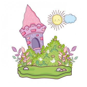 Niedliches märchenschloss in der landschaft