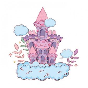 Niedliches märchenschloss in der wolke