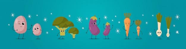 Niedliches maskottchen kartoffel brokkoli kohl aubergine karotte zwiebel gemüse zeichen lustige cartoon persönlichkeiten stehen zusammen gesunde lebensmittel konzept horizontal