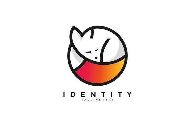 Niedliches minimalistisches schlafendes fuchs-logo