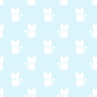 Niedliches muster der netten katze, die rückenansicht zurücksieht