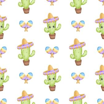 Niedliches muster des niedlichen mexikanischen kaktus der karikatur. kaktus mit augen, sombrero und maracas auf einem weißen hintergrund
