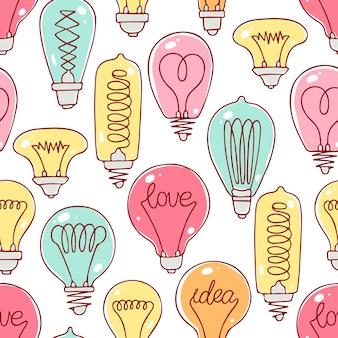 Niedliches nahtloses muster der bunten glühbirnen. handgezeichnete illustration