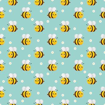 Niedliches nahtloses muster der honigbiene