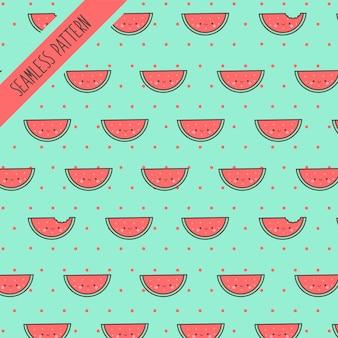 Niedliches nahtloses muster der kawaii wassermelonenfrucht