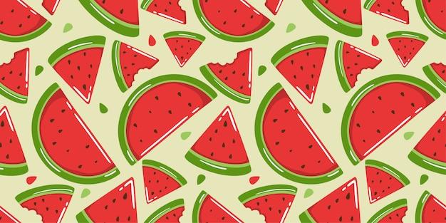 Niedliches nahtloses muster der wassermelone