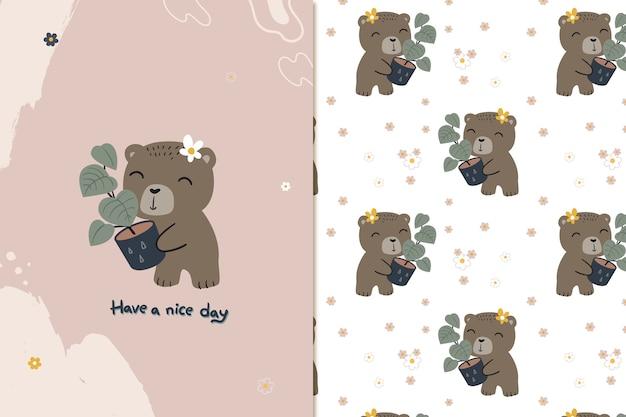 Niedliches nahtloses muster des bären und der pflanze