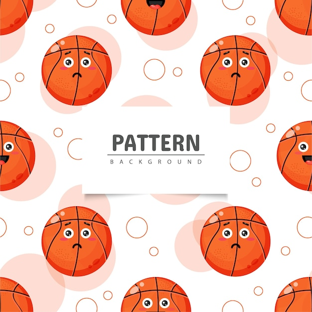 Niedliches nahtloses muster des basketballball-emoticon