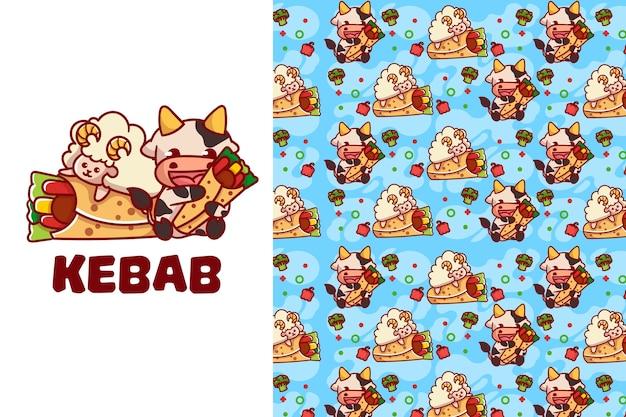Niedliches nahtloses muster des kebab-lammes und der kuh