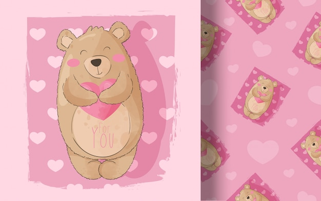 Niedliches nahtloses muster des kleinen bären. illustration für kinder