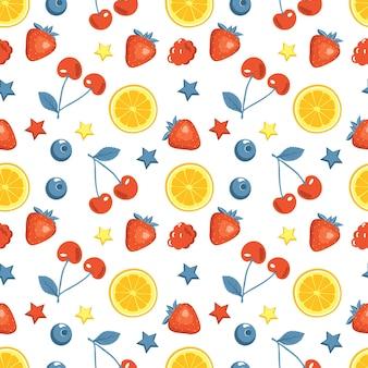 Niedliches nahtloses sommermuster mit kirschen, erdbeeren und zitronen oder orangen